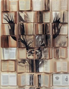 Rome-based Russian artist Ekaterina Panikanova uses open-faced books, carefully aligned with one another, as a large canvas for each of her paintings in a Ghost In The Machine, Funky Art, Book Sculpture, Drawing Practice, Animal Skulls, Geometric Art, Vintage Books, Les Oeuvres, Creative Art