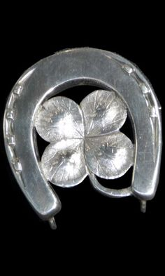 antique 1880s sterling silver horseshoe brooch
