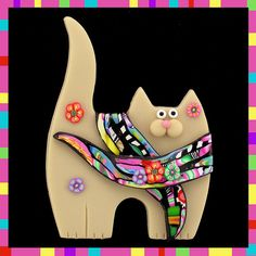 Cream Kitty Cat & Stroppel Cane Scarf | Flickr - Photo Sharing!