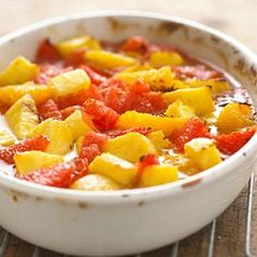 This simple fruit casserole is a nice side dish at breakfast or brunch.