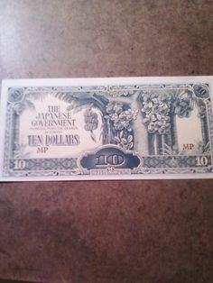 Wwii Anese 10 Dollars Note