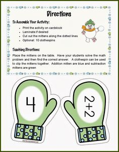 Classroom Freebies: Mitten Match Activity for Addition