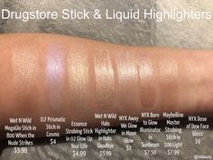 Drugstore Stick & Liquid Highlighters Swatches