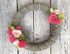 """Spring Wreath, Felt Wreath with Rose and Pink Flowers, Summer Wreath, Felt Flowers, Pink Cabbage Rose, Black and White Striped Ribbon, 14"""" by TheRuffledPage on Etsy https://www.etsy.com/listing/507935037/spring-wreath-felt-wreath-with-rose-and"""