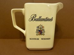 Ballentines, Scotch Whiskey, Pitcher w / Coat of Arms Sheild, by: Reginal Cornfield by BjsDoDads on Etsy
