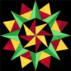 Six different paper pieced quilt block patterns