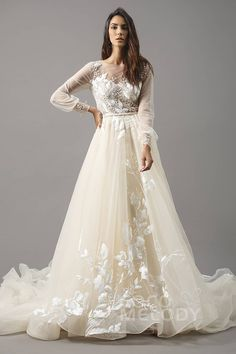 Luxurious A-Line Illusion Natural Chapel Train Tulle Ivory/Champagne Long Sleeve Zipper With Buttons Wedding Dress with Appliques Beading and Sashes LD5199 #weddingdresses #customdresses #bridalgowns #cocomelody #dreamdresses