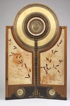 Carlo Bugatti (1856-1940) - Folding Screen. Carved, Ebonized, Stained & Inlaid Wood, Inlaid Metals, Copper, Brass and Painted Vellum. Circa 1898. The Minneapolis Museum of Art.