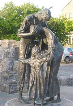 """Sligo Famine Memorial 30,000 emigrated port Sligo, plaque says """"I am now, I may say, alone in the world. All my brothers and sisters are dead and children but yourself. We are all ejected out of Mr. Enright's ground. The times was so bad and all Ireland in such a state of poverty that no person could pay rent. My only hope now rests with you, as I am without one shilling and as I said before I must either beg or go to the poorhouse. I remain, your father Owen Lark""""..."""