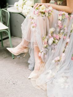 French bridal style inspired this shoot featuring Marchesa couture gowns, a pastel color palette and romantic styling.