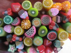 10 Pcs Polymer Clay Canes in Fruit and Yummy Desert by S322Designs, $5.50