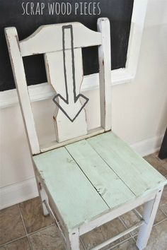 Have a chair with the seat missing? Use wood scraps to create a chair seat & you have lovely rustic chair!