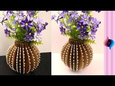 DIY - How to make flower vase with cardboard - Home decorative vase using recycled cardboard - YouTube