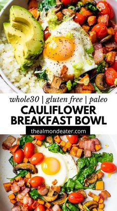 Breakfast Meat, Whole 30 Breakfast, Breakfast Bowls, Healthy Breakfast Recipes, Paleo Recipes, Healthy Eating, Free Recipes, Clean Eating, Mediterranean Breakfast