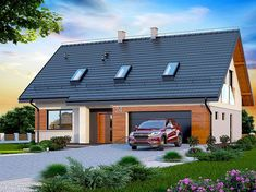 Projekt domu Darlena 143,55 m2 - koszt budowy - EXTRADOM Solar Panels, House Plans, Pergola, Garage Doors, Sweet Home, 1, Exterior, Mansions, House Styles