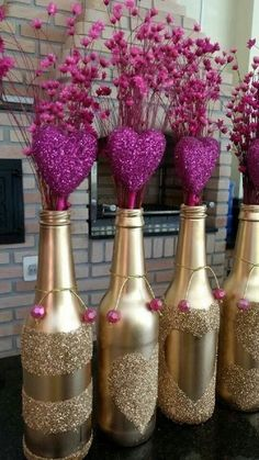 Ideas Birthday Table Centerpieces Diy Silver For 2019 Wine Bottle Art, Diy Bottle, Wine Bottle Crafts, Bottle Centerpieces, Wedding Centerpieces, Wedding Decorations, Wine Bottle Decorations, Valentine Decorations, Table Decorations