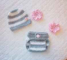 Newborn Baby Girl Crochet Flower Hat & Diaper Cover by Sockmonkey7