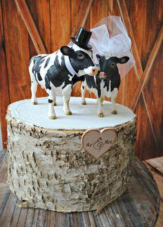 Cow-cowboy-cowgirl-farmer-wedding-cake topper-dairy farmer-cattle-western-farm wedding-barn-woodland-Texas-rodeo-cowboy boots-cowboy hat