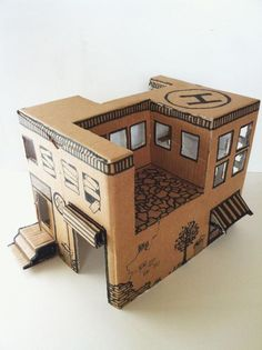Instruction from Mom: how to make a simple toy house from a cardboard box — DIY is FUN Cardboard Box Houses, Cardboard Sculpture, Cardboard Toys, Cardboard Playhouse, Cardboard Furniture, Cardboard Model, Diy With Kids, Crafts For Kids, Easy Crafts