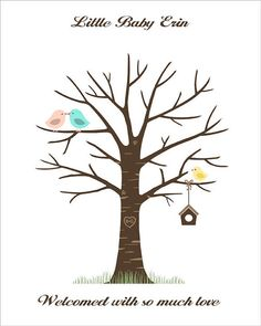 Baby Shower Fingerprint Tree - PRINTABLE PDF File - kissing birds and the baby bird with bird house - Custom color, size, text and language on Etsy, $18.00