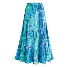 Women's Peasant Skirt - Cyan Blue Panel Long Cotton Skirt