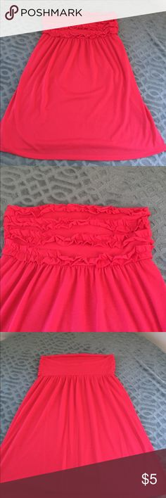 Swim suit cover up Coral strapless swimsuit cover up.  Size large.  100% polyester Swim Coverups