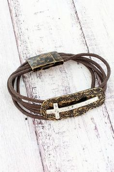 This pretty cross bracelet gives you a rustic chic look for your arm! Diamond Tiara, Religious Jewelry, Rustic Chic, New Fashion, Arm, Fashion Jewelry, Christian, Bracelets, Pretty