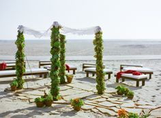 Gorgeous beach ceremony set-up at luxury beach Hotel Casa del Mar - Santa Monica, California.
