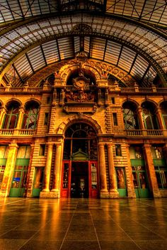 Antwerp Central Station  the city where my parents lived many years ago - i want to take my husband who has never been - AND  of course it is the diamond centre of the world !!!!!!