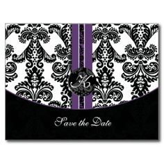 purple Save the Date Post Card
