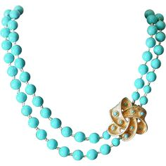 Vintage Blue Beaded Long Double Strand Necklace with Decorative Bow Clasp at WhimsicalVintage