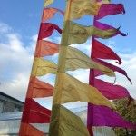 Silk & ribbon flags. warm tones