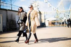Animal prints and faux fur at the streets of Paris (March 2016). #streetstyle