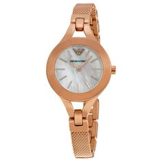 Mother of Pearl Dial Rose Gold-tone Mesh Ladies Watch