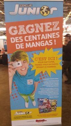 """Gagnez des centaines de Mangas avec Science & Vie Junior et Manga.tv !   Pour cela c'est très simple, il suffit de trouver un de ces panneaux et de vous prendre en photo à côté. Envoyez ensuite votre photo a concours.svj@mondadori.fr  Pour les moins photogéniques, vous pouvez participer en répondant à la question suivante par OUI ou NON en message privé de Science et Vie Junior - la page officielle! : """"Y a-t-il une rubrique Zone Geek dans votre magazine Science & Vie Junior ?""""  Bonne chance…"""