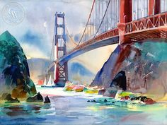 Ken Potter - Golden Gate, 1997 - California art - fine art print for sale… Arches Watercolor Paper, Watercolor Artists, Watercolor Landscape, Watercolor Paintings, Watercolor Print, Watercolors, Art Aquarelle, California Art, Bakersfield California