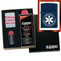 """""""EMT - Emergency Medical Technician"""" Zippo Lighter Gift Set by AMS. $28.95. This attractive gift set assures that your gift will be ready to use and appreciated the day it is received. Includes complete instructions and an ample supply of accessories needed for proper and continued use. Lighter includes a manufacturer Lifetime Guarantee. SPECIAL SHIPPING NOTE: This item contains a flammable liquid (lighter fluid) that is regulated and restricted to ground shipping only. Item c..."""