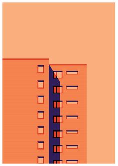 Architectural, minimal digital illustration by Gabriella Street Simple Illustration, Illustration Sketches, Graphic Design Illustration, Digital Illustration, Illustrations Posters, Graphic Art, Posca Marker, Building Illustration, Illustrator Tutorials