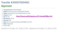 Here is my #48 Withdrawal Proof from Ad Click Xpress. I get paid daily and I can withdraw daily. Online income is possible with ACX, who is definitely paying - no scam here. I WORK FROM HOME less than 10 minutes and I manage to cover my LOW SALARY INCOME. If you are a PASSIVE INCOME SEEKER, then AdClickXpress (Ad Click Xpress) is the best ONLINE OPPORTUNITY for you. Join for FREE and get 20$ + 10$ + 5$ Monsoon, Ad and Media value packs from ACX.