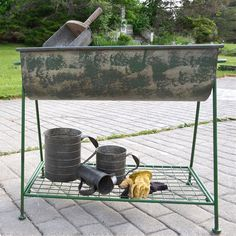 Our HUGE Metal Tub has divided sections and comes on a stand, perfect for casual parties (fill them with ice), organization, and even those gardening projects you've been wanting to complete.