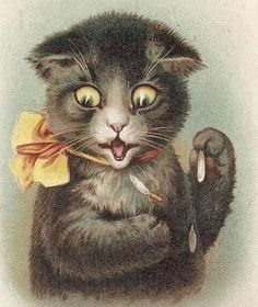 Louis Wain Playing with matches
