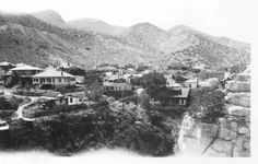 This is a view of the Quality Hill neighborhood in Bisbee, Arizona from Castle Rock, taken around 1920-1925. Note the young man sitting on Castle Rock in the right side of the image. A board devoted to the ever faithful burros of Bisbee, Arizona. This image is from the photograph collection of the Bisbee Mining & Historical Museum.  Discover more Bisbee, Arizona images and artifacts at www.facebook.com/BisbeeMuseum #bisbee #arizona #bisbeemuseum #history