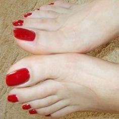 No photo description available. Bright Toe Nails, Pretty Toe Nails, Cute Toe Nails, Sexy Nails, Sexy Toes, Pretty Toes, Red Toenails, Long Toenails, Pink Pedicure