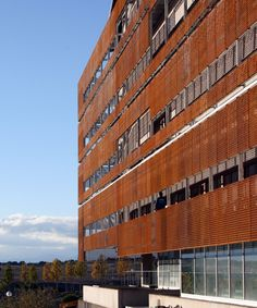 This facade Corten steel is laser cut, has been treated exclusively with oxide activator act-COR, previously was blasted, achieving a rustic look very modern by Steel Siding, Steel Cladding, Farm Landscaping, Weathering Steel, Steel Curtain, Corten Steel, Facade Design, Multi Story Building, Exterior