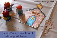Build your own town with a free set of printable pieces! A great activity for little ones when reading the book Lentil. Or save for a rainy day! Rainy Day Activities, Indoor Activities For Kids, Hands On Activities, Toddler Activities, Map Activities, Five In A Row, Toddler Preschool, Preschool Classroom, Kindergarten
