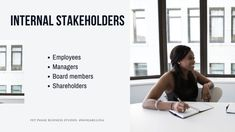 Discover who external stakeholders are in business: a stakeholder is any person or group that is influenced by, or influences, an organisation. The organisation should do its best to keep them informed and happy. There are two types of stakeholders: internal and external. Internal stakeholders are directly involved in the business processes. They are found inside the business.  Examples of internal stakeholders include employees, management, directors and shareholders. By Nonjabulo… Gross Domestic Product, Exam Papers, Business Studies, Information Graphics, Economic Development, Goods And Services, Health And Safety, People Around The World, Workplace