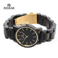 Big Deals $14.97, Buy REDEAR Top Brand Nature Ebony Wood Watch Wooden Watch Women Watches Luxury Wood Women's Watches Clock saat montre femme relogio