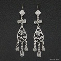 RARE FILIGREE FLOWER STYLE 925 STERLING SILVER GREEK HANDMADE ART EARRINGS #IreneGreekJewelry #Chandelier