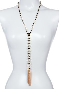 Image of Panacea Black Crystal Tassel Lariat Necklace