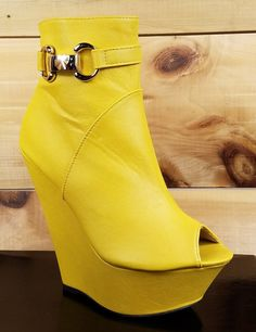 India Open Toe Platform Wedge Ankle Boot Shoes Yellow